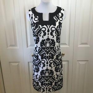 Alyx Damask Print Shift Dress Black White Sz 4